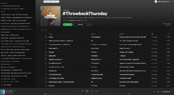 Celtic Woman's 'Danny Boy' added to Spotify 'Throwback Thursday' playlist.
