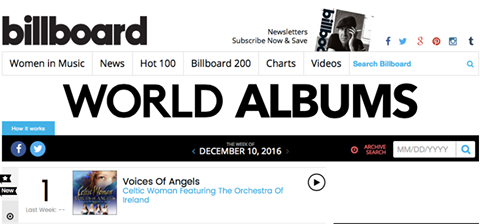 Celtic Woman celebrate 11th consecutive Billboard no. 1 entry